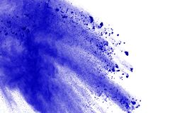 Blue powder explosion on white background. Colored cloud. Color dust explode. Paint Holi. royalty free stock photos