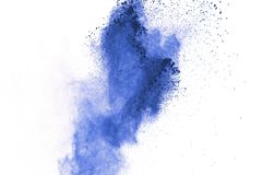 Blue powder explosion on white background. Colored cloud. Color. Dust explode. Paint Holi royalty free stock images
