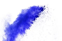 Blue powder explosion on white background. Colored cloud. Color. Dust explode. Paint Holi stock images