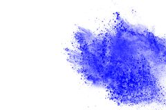 Colored powder explosion. Colore dust splatted. Blue powder explosion on white background. Colored cloud. Color dust explode. Paint Holi stock photography