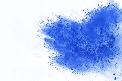 Colored powder explosion. Colore dust splatted. Blue powder explosion on white background. Colored cloud. Color dust explode. Paint Holi royalty free stock images
