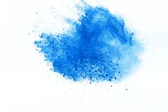 Colored powder explosion. Colore dust splatted. Blue powder explosion on white background. Colored cloud. Color dust explode. Paint Holi stock photo