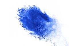 Colored powder explosion. Colore dust splatted. Blue powder explosion on white background. Colored cloud. Color dust explode. Paint Holi stock image