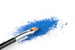 Blue Powder Eyeshadow on a Brush, fashion beauty Royalty Free Stock Photography