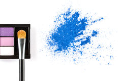 Blue Powder Eyeshadow  and Make up Palette with Brush Stock Photo