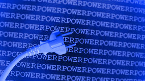 Blue power background. Repetitive rows of the word power on a blue background with a power cord and plug in the foreground Stock Photography
