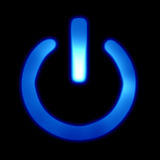 Blue power button Stock Photography