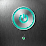 Blue Power Button On Front Panel Of Computer Stock Images