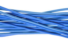 Blue power cables lines. Isolated on white background Royalty Free Stock Photography