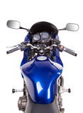 Blue powerful motorcycle. Stock Photo