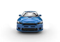 Blue Powerful Sports Car on White Background Stock Images