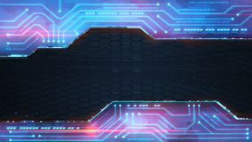 Blue powerful technology computer design. Background 3D illustration with black honeycomb pattern Stock Photography