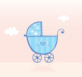 Blue pram or stroller for baby boy Stock Images
