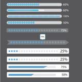 Blue preloaders and progress loading bars. Illustration Royalty Free Stock Photo