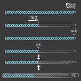 Blue preloaders and progress loading bars. Royalty Free Stock Photography