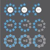 Blue preloaders and progress loading bars. Illustration Stock Photography