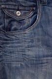 Blue premium denim with pocket Stock Photo