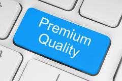 Blue premium quality button Stock Photo
