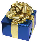 Blue present. With a golden ribbon Stock Image