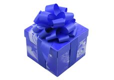 Blue Present. A blue present with a blue ribbon isolated on the white background Royalty Free Stock Image