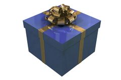 Blue present box isolated on white background Royalty Free Stock Image