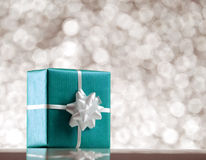 Blue present box Royalty Free Stock Photography