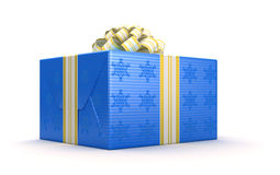 Blue present or gift box with bow Stock Image