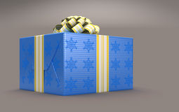 Blue Present or gift box with bow over grey Stock Photography