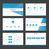 Blue presentation templates Infographic elements flat design set for brochure flyer leaflet marketing Royalty Free Stock Images