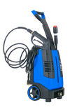 Blue pressure portable washer. With inserted gun on pure white background Stock Photography