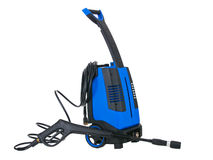 Blue pressure portable washer with hose Royalty Free Stock Images