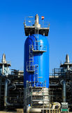 Blue pressure tank. Royalty Free Stock Image