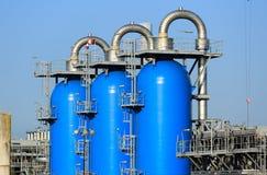 Blue pressure tanks Stock Photos