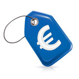 Blue price tag. With a Euro Symbol Stock Image