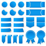 Blue Price Tags, Stickers, Banners. Blue price tags, stickers, labels, banners and ribbons Royalty Free Stock Photo