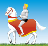 Blue prince. Vector illustration Blue prince on white horse Stock Photos