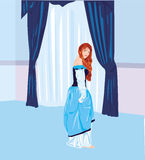 Blue princess. Vector illustration of princess in blue room Royalty Free Stock Photography