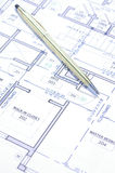 Blue print. A close up of a modern house blue print stock photos