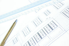 Blue print. A close up of a modern house blue print stock image