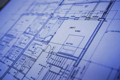 Blue Print. Close up of a modern house blue print Royalty Free Stock Images
