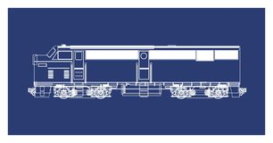 Blue print art locomotive Royalty Free Stock Image