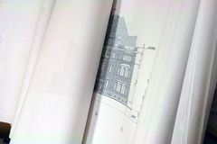 Blue Print Building Plans. Close up of blue prints showing exterior Stock Photos