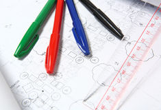 Blue print. With drafting pen Royalty Free Stock Photo