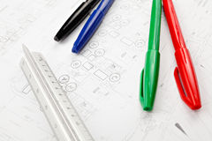 Blue print drawing Stock Photo