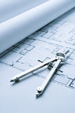 Blue Print Floor Plans with Drawing Compass Royalty Free Stock Photos