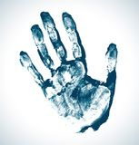 Blue Print of hand. Vector grunge illustration Vector Illustration