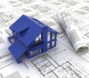 Blue print of a house. A blue print of a house with a model Stock Images
