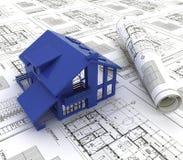 Blue print of a house. A blue print of a house with a model