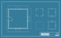 Blue print illustration. Apartment Floor simple Plan Blueprint with no furniture Top View. Vector illustration Stock Images