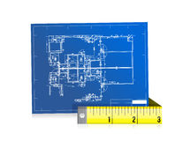 Blue print and measure tape illustration design Royalty Free Stock Images